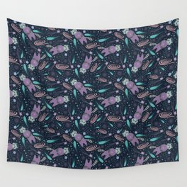Space raccoon and stars galaxy pattern Wall Tapestry