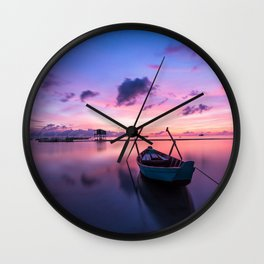 Rowboat and Sunrise on the Water Wall Clock