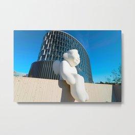 Angel sculpture at modern steel and glass forum skyscraper Metal Print