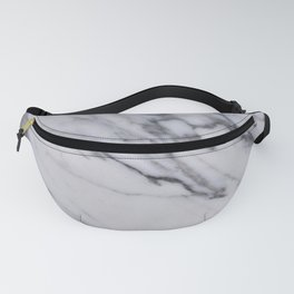 Marble - Black and White Gray Swirled Marble Design Fanny Pack