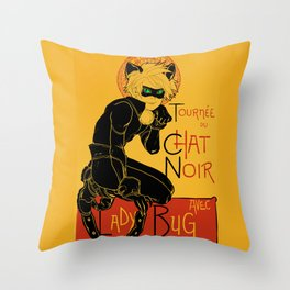 Black Cat and Ladybug Throw Pillow