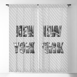 New York (photo filled type on white) Blackout Curtain