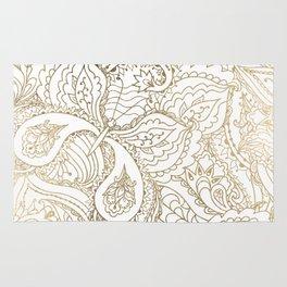 Elegant hand drawn white faux gold luxury floral Rug