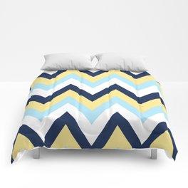 Blue & Yellow Chevron 2 Comforters