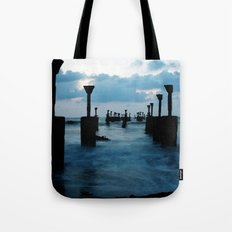 Pillars by the sea Tote Bag