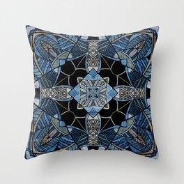 blue symmetric fantasy pattern IV Throw Pillow