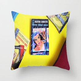 Agatha Christie Three Blind Mice Throw Pillow