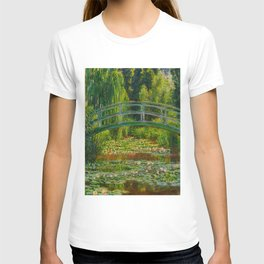 Claude Monet Impressionist Landscape Oil Painting-The Japanese Footbridge and the Water Lily Pool, T-shirt