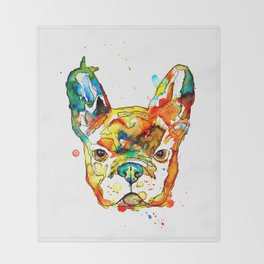 Colorful french bulldog Throw Blanket