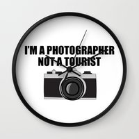 photographer Wall Clocks featuring Photographer Tourist Funny by bitobots