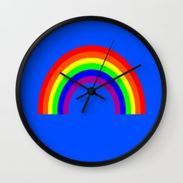 Rainbow on Blue Wall Clock