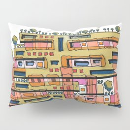 Urban Nature Building Architectural Illustration 62 Pillow Sham