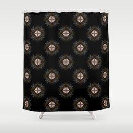 Beige Cross Flower Pattern Shower Curtain