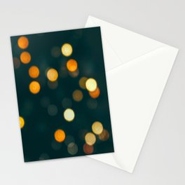 Bokeh Blurred Lights Shimmer Shiny Dots Spots Circles Out Of Focus Stationery Cards