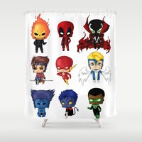 spawn Shower Curtains featuring Chibi Heroes Set 2 by artwaste