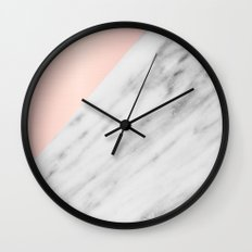 Real Carrara Italian Marble and Pink Wall Clock