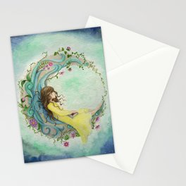 The Girl At The Moon Stationery Cards
