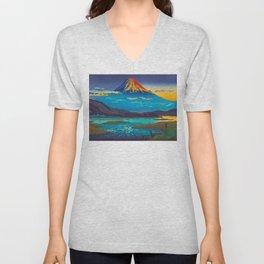 Tsuchiya Koitsu Tokaido Fujikawa Japanese Woodblock Print Sunset Colorful Hues Mountain Landscape Unisex V-Neck