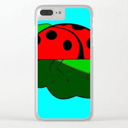 A Ladybug on a Leaf Clear iPhone Case