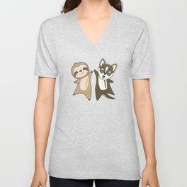 Sloth Husky Dog Animal Friends For Children Unisex V-Neck