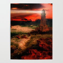 Sunset Over Lighthouse Poster
