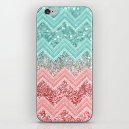 Summer Vibes Glitter Chevron #1 #coral #mint #shiny #decor #art #society6 iPhone Skin