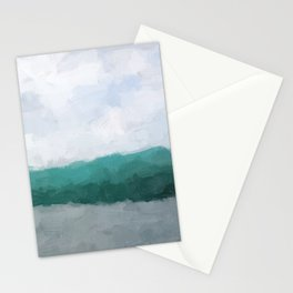 Aqua Teal Turquoise Sky Blue White Gray Abstract Wall Art, Painting Art, Water Surf Ocean Waves Stationery Cards