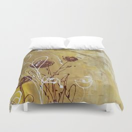 Yellow Tan Spring Abstract Flowers. Jodilynpaintings. Abstract Floral Duvet Cover