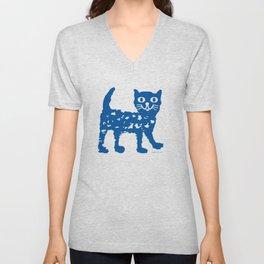 Navy blue cat pattern Unisex V-Neck