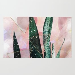 Plant circles & triangles Rug