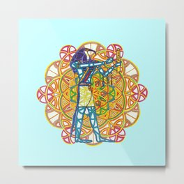 Sacred Geometry Thoth Mandala Metal Print