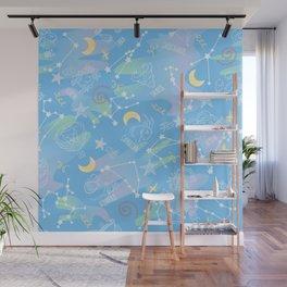 Astrology Zodiac Signs Night Sky Seamless Pattern light blue Wall Mural