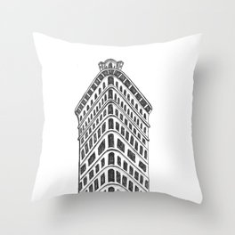Flatiron Building Drawing Throw Pillow