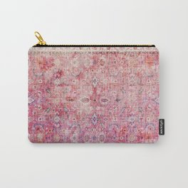 N45 - Pink Vintage Traditional Moroccan Boho & Farmhouse Style Artwork. Carry-All Pouch
