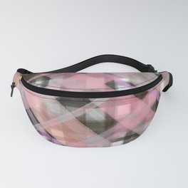 Geometrical pink lilac black watercolor hand painted plaid Fanny Pack