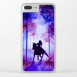 Horse and Rider Purple Edition Clear iPhone Case