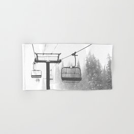 Chairlift Abyss // Black and White Chair Lift Ride to the Top Colorado Mountain Artwork Hand & Bath Towel