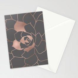 Rosegold  blossom on grey - Pink metal - effect flower Stationery Cards