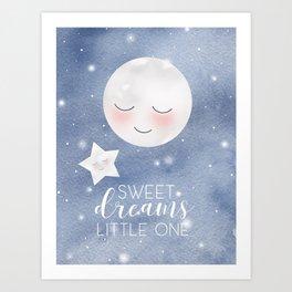 Blue Sleepy Moon Art Print