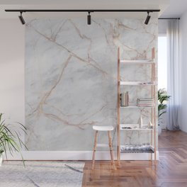 White Italian Marble & Gold Wall Mural