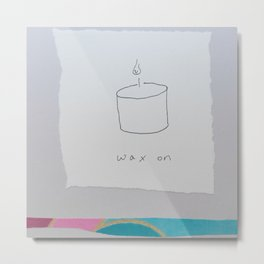 Wax On - candle pun illustration collage Metal Print