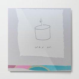 Wax On - candle pun illustration collage Metal Print