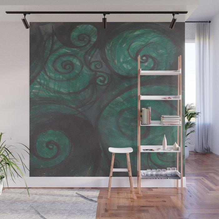 Swirl (black and green) Wall Mural