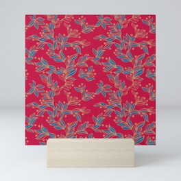 Winter Floral Pattern Mini Art Print