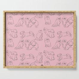 English Rose Pink & Dark Taupe Minimalist Outline Tibetan Spaniel Pattern Serving Tray