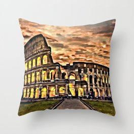 Golden Hour at Colloseum  Throw Pillow