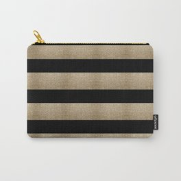 preppy contemporary minimalist great gatsby champagne black gold stripes Carry-All Pouch