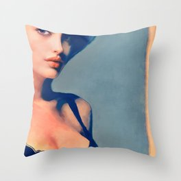 Portrait Of Young Woman With Large Eyes Throw Pillow