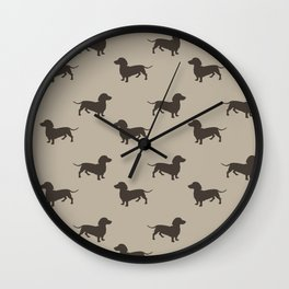 Dachshund Pattern - Tan Wall Clock