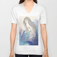 pisces V-neck T-shirts featuring Pisces by katiwo